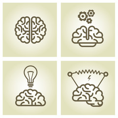 Brain icon - invention and inspiration symbols