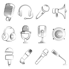 sketch microphone icons