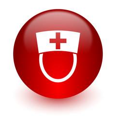 nurse red computer icon on white background