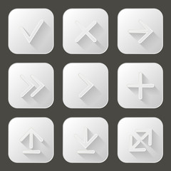 Set of icons with long shadow