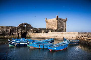 Small boats in the harbour of Essaouira Morocco, Africa