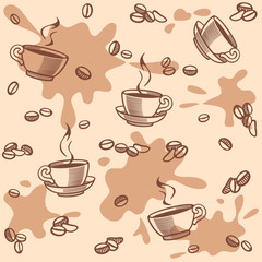 background with coffee beans and cup - seamless