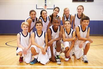 Portrait Of High School Sports Team In Gym