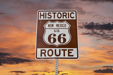 Old Route 66 New Mexico Sign With Sunset Sky