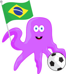 Cartoon animal football fan of championship in Brazil