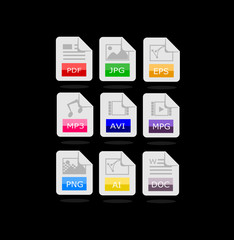 Set of 9 file format icons vector