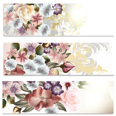 Flower backgrounds set in floral style