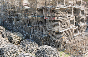 Lobster traps by the harbour