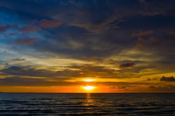 Beautiful sunset on the beach , Thailand.