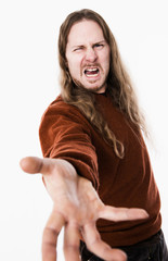 angry man with long hair
