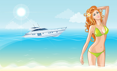 Beach girl in a swimsuit