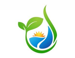 nature ecology logo,plant symbol,sun power,water drop icon