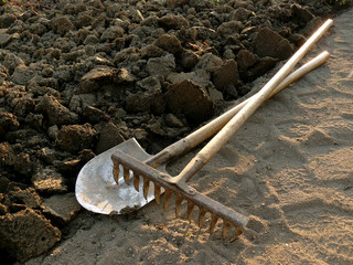 rake and spade at the edge of ploughed ground