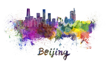 Spoed Foto op Canvas Beijing Beijing skyline in watercolor