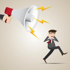 cartoon businessman run away from big megaphone