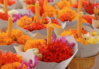 flower with candle for worship buddha in thai style