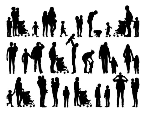big set of families with young children silhouettes