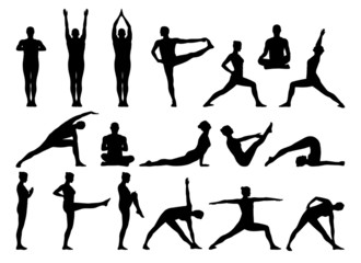big set of people practicing yoga silhouettes