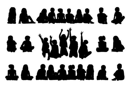 big set of schoolchildren seated silhouettes