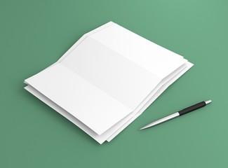 Briefpapier Stapel mit Kugelschreiber