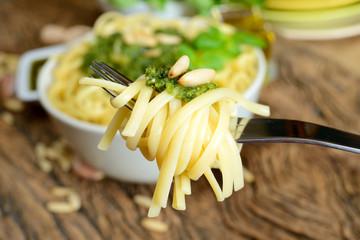 linguine pasta by pesto