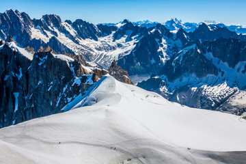 Mont Blanc mountain massif summer landscape(view from Aiguille d