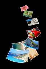 Photos of holiday on black background.