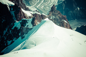 Mont Blanc, Chamonix, French Alps. France. - tourists climbing u