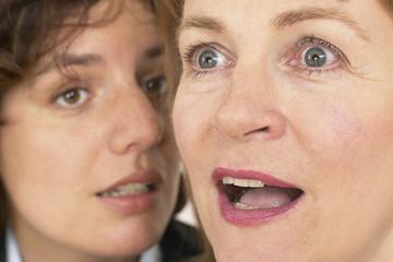 two business women whisper a secret