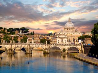 Poster Rome Basilica di San Pietro with bridge in Vatican, Rome, Italy