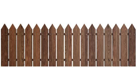 Wooden Fence on White background, Cherry Dark