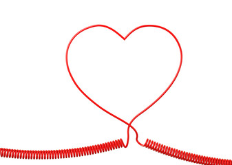 Red Phone Cable With Heart Shape Isolated