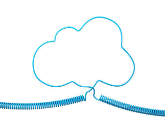 Blue Phone Cable With Blue Speech Cloud Isolated