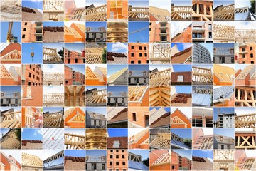 collage de photos industrie construction et bâtiment