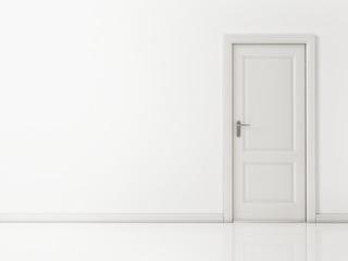 White Door on White Wall, Reflective Floor