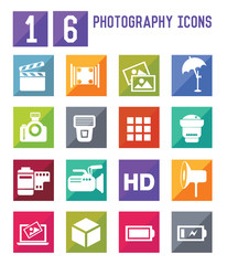 16 Photography icons,vector
