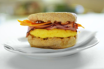 Egg, ham and cheese on whole wheat English muffin