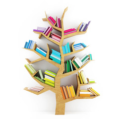 Tree of Knowledge, Wooden Shelf with Multicolor Books Isolated