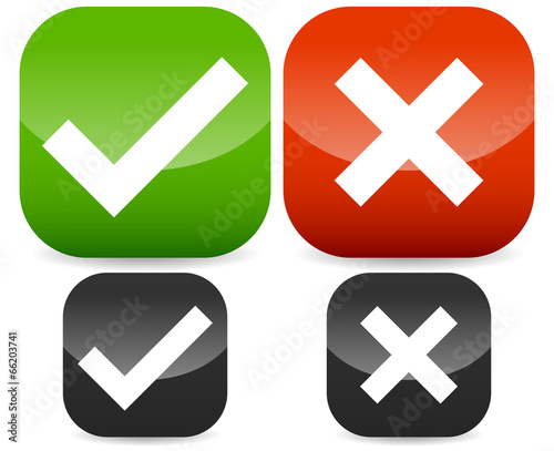 Green Red Check Mark Cross Symbols On Rounded Rectangle Icons