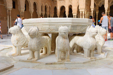 Leones at the Palacio de la Alhambra in Granada, Spain