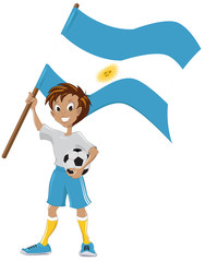 Happy soccer fan holds Argentina flag