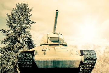 Retro photo of an old Sherman tank