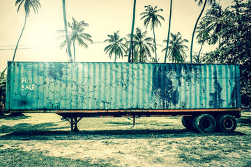 Old grunge truck in tropical inviroment