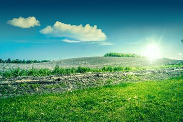 Sunshine over a beautiful countryside landscape