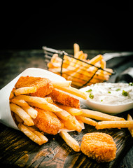 Deep fried takeaway fish and chips