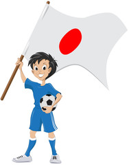 Happy soccer fan holds Japanese flag