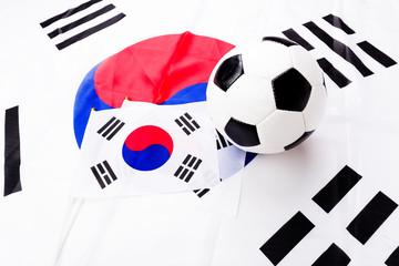 Soccer ball and South Korean flag