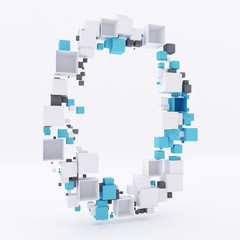3D letter O build out of cubes