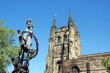 St Edithas church and anchor sculpture, Tamworth, UK