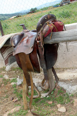 Closeup picture of old leather saddle